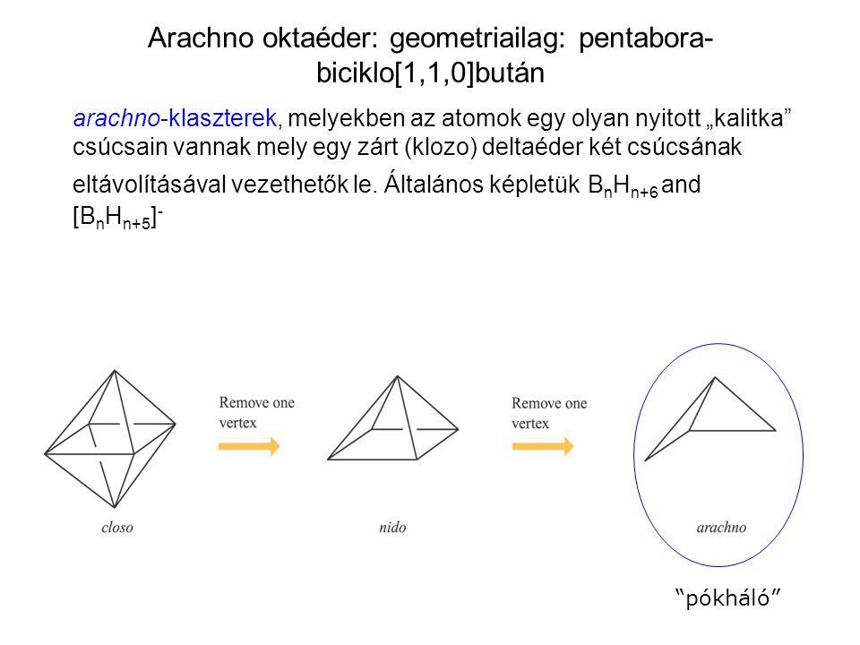 Arachno oktaéder: geometriailag: pentabora-biciklo[1,1,0]bután